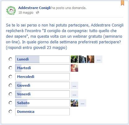 Risultati domanda sul giorno del webinar da pagina FB di Addestrare Conigli