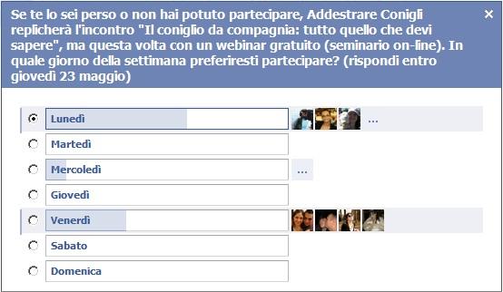 Risultati domanda giorno webinar su FB nel GRUPPO di Addestrare Conigli