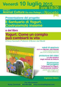 locandina presentazione a Noceto del libro Yogurt come un coniglio può cambiarti la vita