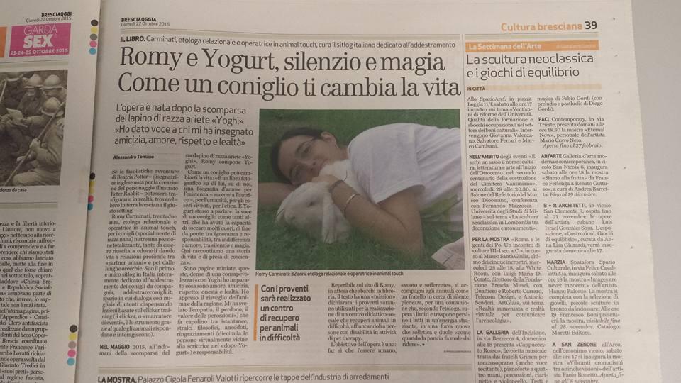 articolo su Romy Carminati e il Santuario per conigli, pubblicato sul quotidiano Bresciaoggi del 22 ottobre 2015