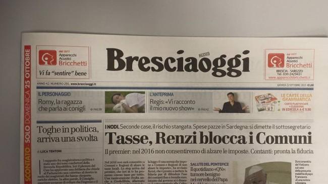 civetta dell'articolo su Romy Carminati pubblicato su Bresciaoggi il 22 ottobre 2015