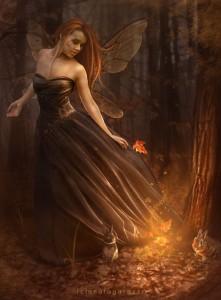 Conigli e fata che danzano vicino al fuoco